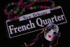 Granos, máscara y barrio francés Imágenes de archivo libres de regalías