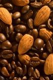 Granos y almendras de café Fotografía de archivo libre de regalías