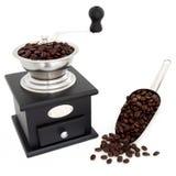Granos y amoladora de café Imagen de archivo libre de regalías