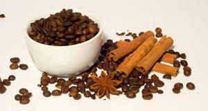 Granos y canela de café Imagen de archivo libre de regalías