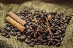 Granos y canela de café Fotografía de archivo libre de regalías