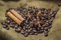 Granos y canela de café Imágenes de archivo libres de regalías
