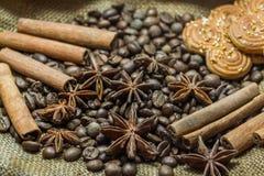 Granos y canela de café Foto de archivo libre de regalías
