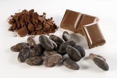 Granos y chocolate de cacao Fotos de archivo libres de regalías