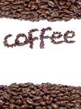 Granos y nombre de café imágenes de archivo libres de regalías