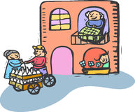 Granparents house. Bulding with old man in a window and girl showing in another window, and old woman outside buying milk from street vendor Royalty Free Stock Images