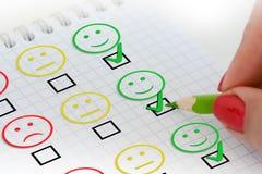 Granskning eller frågeformulär för kundtillfredsställelse