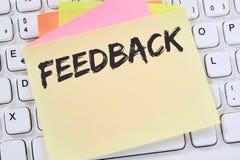 Granskning för affär för granskning för åsikt för återkopplingskontaktkundtjänst Arkivfoto