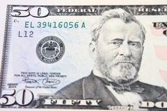 Grant on a 50 dollar bill. Close-up view of a 50 dollar United States treasury note stock photo