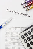 Grant Application. Directly above photograph of a grant application royalty free stock photography