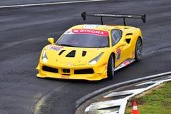 Grant Baker che guida alla serie di Asia Pacific di sfida di Ferrari corre il 15 aprile 2018 in Hampton Downs Immagine Stock