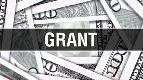Grant Closeup Concept Dollars américains d'argent d'argent liquide, rendu 3D Grant au billet de banque du dollar Message publicit illustration stock