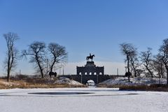 Grant Memorial in Lincoln Park. This is a Winter picture of the iconic Ulysses Grant Memorial located along a frozen South Pond in Lincoln Park in Chicago Stock Photography