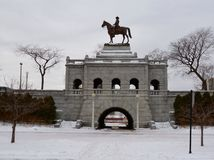 Grant Memorial. This is a winter picture of the Ulysses S. Grant Memorial in Lincoln Park in Chicago, Illinois.  The sculptor was Louis Rebisso and it was Stock Photography