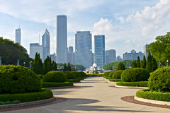 Grant Park and Buckingham Fountain in Chicago.  Stock Photo