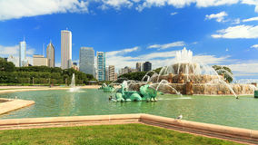 Grant Park Chicago. Scenic skyline view of Grant park in downtown Chicago stock photos