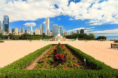 Grant Park Chicago. Scenic skyline view of Grant Park in downtown Chicago stock image