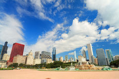Grant Park Chicago. Scenic skyline view of Grant park in downtown Chicago stock photo