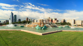 Grant Park Chicago. Scenic skyline view of downtown Chicago from Grant Park royalty free stock photo