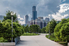 Grant Park och Willis Tower Chicago Royaltyfri Fotografi