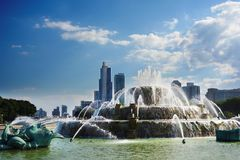 Grant Park skyline view. View of downtown Chicago skyline from the fountain in Grant Park Royalty Free Stock Photo