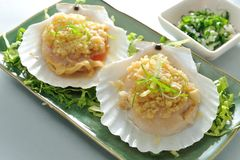 Grant Scallop. Japanese scallop clams with garlic stock images