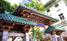 Grant Street Gate Entrance to San Francisco`s Chinatown. Grant Street entrance to San Francisco`s Chinatown district Royalty Free Stock Images
