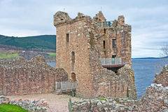 Grant Tower and Loch Ness. Grant Tower built by Sir John Grant around 1509 and Loch Ness in the ackground Stock Photo