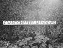 Grantchesterweiden in Cambridge in zwart-wit stock foto's