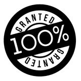 Granted stamp typographic stamp. Granted stamp. Typographic sign, stamp or logo Stock Image