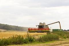 GRANTHAM, UK - 16 ΑΥΓΟΎΣΤΟΥ 2015 Συνδυάστε τη θεριστική μηχανή που εκκενώνει το σιτάρι Στοκ φωτογραφία με δικαίωμα ελεύθερης χρήσης