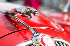 Jaguar car emblem. GRANTOWN ON SPEY, SCOTLAND - September 3 2017: Jaguar car emblem on a vintage MK2 Jaguar royalty free stock photography