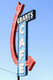 Grants Cafe sign with red arrow on Route 66 Stock Images