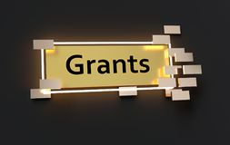 Grants modern golden sign. With golden cubes around and glowing neon light on the black wall , 3d rendered Royalty Free Stock Image
