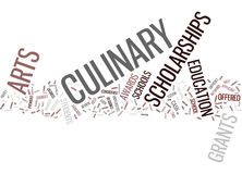 Grants And Scholarships For Culinary Arts Text Background Word Cloud Concept Stock Photo