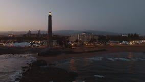 Granu Canaria wybrzeże z Maspalomas latarnią morską, antena zbiory