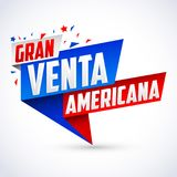 Granu venta americana, Wielkiej Amerykańskiej sprzedaży hiszpański tekst ilustracja wektor