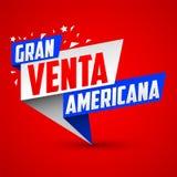 Granu venta americana, Wielkiej Ameryka?skiej sprzeda?y hiszpa?ski tekst royalty ilustracja