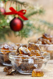 Granulated brown sugar in transparent glass bowl Royalty Free Stock Image