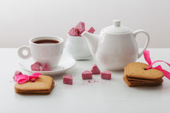 Granulated pink sugar  in the shape of heart Royalty Free Stock Photo