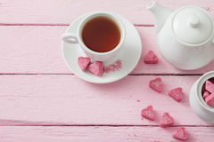 Granulated pink sugar  in the shape of heart Royalty Free Stock Images