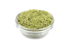 Granulated seasoning in a glass container Stock Photo