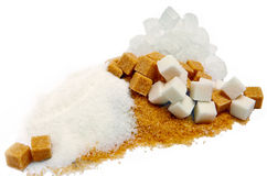 Granulated sugar, sugar not refined, sugar candy, white and brown Stock Photos