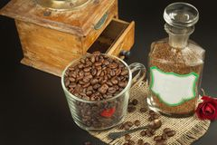Granules of instant coffee background. Instant coffee in a glass dish. Preparation of soluble coffee. Decorate store coffee. Granules of instant coffee Stock Images