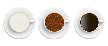 Granules of instant coffee, sugar and coffee Royalty Free Stock Images
