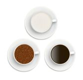 Granules of instant coffee, sugar and coffee Stock Photo