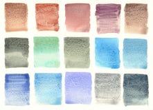 Granulierter Farbpaletten-Aquarellhintergrund Stockfotos