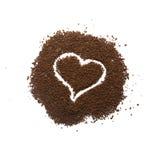Granuliertes Kaffeeherzzeichen stockbilder