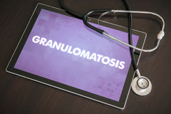 Granulomatosis (heart disorder) diagnosis medical concept on tab. Let screen with stethoscope royalty free stock photography