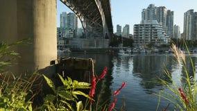 Granville Bridge Sport Fisherman Vancouver dolly shot stock video
